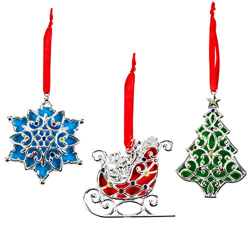 Lenox Sparkle and Scroll Holiday/Christmas Ornaments [Silver-Plated] (3-set Multi Color Gems)Christmas Gift