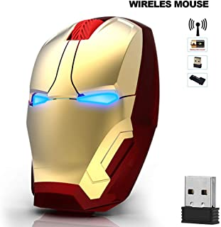 Ergonomic Wireless Mouse, Iron Man Mouse 2.4G Portable Mobile Computer Mouse Optical Mice with USB Receiver, Multi-color choicing, Best for Notebook, PC, Laptop, Computer, Macbook