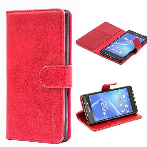Mulbess Cover per Sony Xperia Z2, Custodia Pelle con Magnetica per Sony Xperia Z2 Case, Vino Rosso