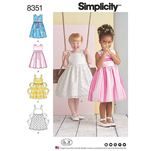 Simplicity patroon 8351 A (3–5 – 6-7–8) kinderjurk, wit