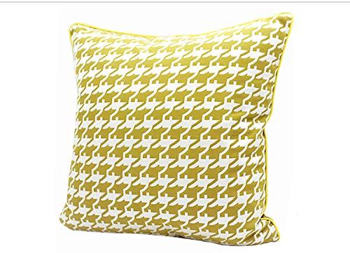 Habitación modelo de cojín de sofá de pata de gallo de moda europea y americana con funda de almohada, almohada de cintura larga para alquiler de coches-30x50cm (funda de almohada)_amarillo