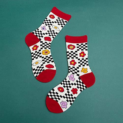 Calcetines De Mujer De Moda Calcetines Estándar De Algodón De Colores Hombres 1 Par Ch8104-Grid
