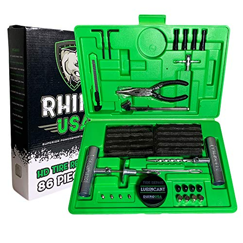 Rhino USA Tire Plug Kit (86-Piece) Repair Punctures & Fix Flats with Ease - Heavy Duty Flat Tire Puncture Repair Kit for Car, Motorcycle, ATV, UTV, RV, Trailer, Tractor, Jeep, Etc.
