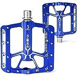INBIKE Pedales Antideslizante De MTB Bicicleta, Pedales Plataforma De Aluminio con Rodamiento 9/16 para Bicicleta De Montaña Bicicleta De Carretera(Azul)