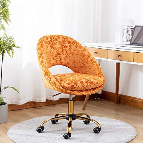 SSLine Elegant Velvet Desk Chair with Gold Base Wheels Soft Upholstered Swivel Office Computer Chair in Vintage Luxury Pattern Rolling Task Chair for Women Girls