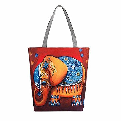 NINGSANJIN Stoffbeutel Baumwolltasche Beutel Shopper Umhängetasche,Elefanten gedruckt Canvas Tote Casual Strandtaschen Frauen Einkaufstasche Handtaschen (D)