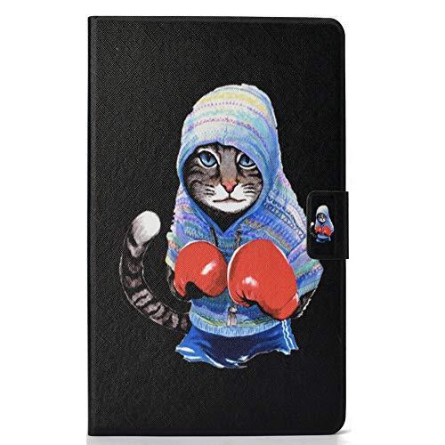 Coopay 360 Grad Schutz Hülle Tasche Kompatibel mit Amazon Fire HD 10-Zoll-Tablet (2017),Einzigartig Boxen Katze Rot Handschuhe Design Ultra Slim Ledertasche mit Auto Schlaf/Wach Funktion Smart Cover