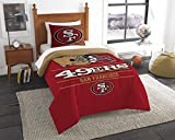 NFL San Francisco 49ers Unisex 'Draft' Twin Comforter and Sham Set, Red, Twin