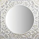 -Espejo Fabricado en España y Decorado a Mano- Medida Exterior 60x60 cm, Medida de Espejo 40x40 cm. Espejo Decorativo de Pared de Estilo Barroco. Modelo Zurbarán Blanco patinado en Oro