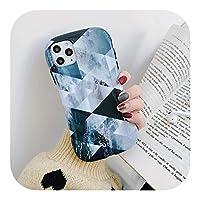 Hjiing グリッドマーブルケースiPhoneXSMAX携帯電話ケース耐衝撃バンパーカバーファッションデザインCoquefor iPhone 7 8 11 Pro Max-Grid Marble-For iPhone X