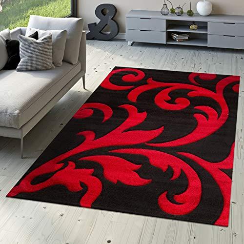 T&T Design Designer Teppich Wohnzimmerteppich Levante Modern mit Floral Muster Rot Schwarz, Größe:120x170 cm