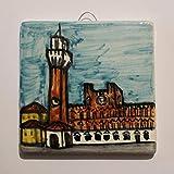 Piazza del Campo in Siena - Handverzierte Keramikfliesen,Abmessungen cm 10x10x0,8 cm. Hergestellt in...