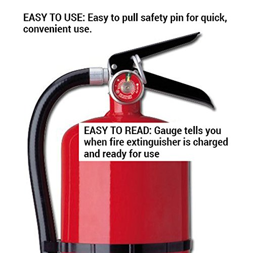 Kidde 466204 Pro 10 Multi-Purpose Fire Extinguisher, UL Rated 4-A, 60-B:C, Easy to Read Gauge, Easy to Pull Safety Pin