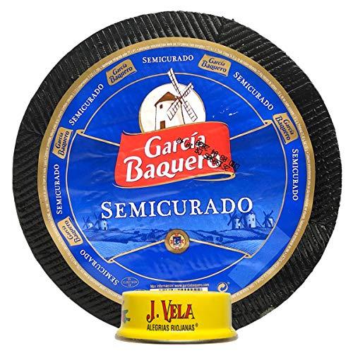 Queso García Baquero Semicurado mezcla graso elaborado con leche pasteurizada peso aproximado pieza 3 kg - llévate GRATIS unas ricas Alegrías Riojanas J Vela