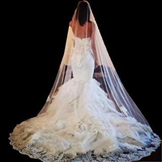 Bridal Veil 1 Tier Long Cathedral Bride Veil 3 Meter Vintage Lace Applique Edge Veils Wedding Accessories With Crystal Fre...