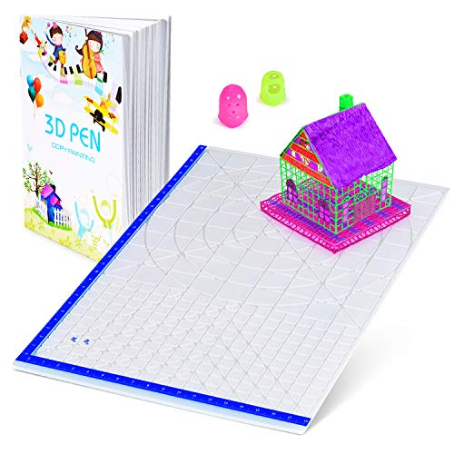 3D Printing Pen Mat with Basic Template, with 3D Pen Books and 2 Silicone Finger Caps, Great 3D Pen Drawing Tools