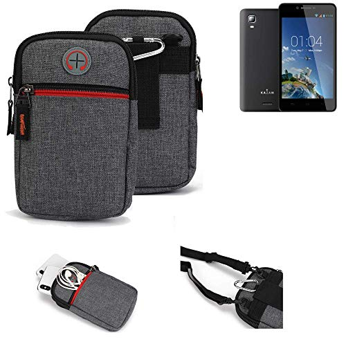 K-S-Trade® Gürtel-Tasche Für Kazam Trooper 2 6.0 Handy-Tasche Holster Schutz-hülle Grau Zusatzfächer 1x