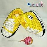 Patucos para Bebé, tipo Converse, 3-6 meses Amarillo. Hecho a Mano. Crochet....