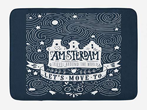 ABAKUHAUS Amsterdam Tappetino da Bagno, Le Parole di Viaggio con Le Stelle, Vasca Doccia WC Tappeto in Peluche con Supporto Antiscivolo, 45 cm x 75 cm, Dark Blue And White