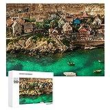 Promini Rompecabezas de madera Popeye Village Malta Arquitectura Viajes Turismo blanco-color1 500 PCS Desafiante Puzzle Juego Divertido Juguetes Familiares Juegos Educativos