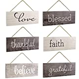 Excello Global Products Hanging Home Decor Sign with Sawtooth Hook and Jute Hanging Rope (Grateful, Love, Believe, Thankful, Faith, Blessed)