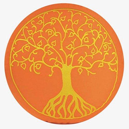 Maylow - Yoga met hart - yogakussen meditatiekussen met borduurwerk boom des levens 33x10 cm (lage zitpositie voor gevorderden) gevuld met spelt - overtrek en tijk 100% katoen