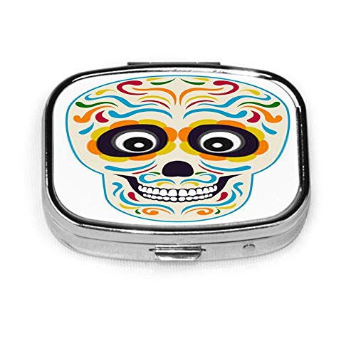 Mexican Sugar Skull Isolated On White in Cartoon Simple Flat Mens Pocket Pill Box Pill Box Tablet Holder Wallet Organizer Case for Pocket Or Purse
