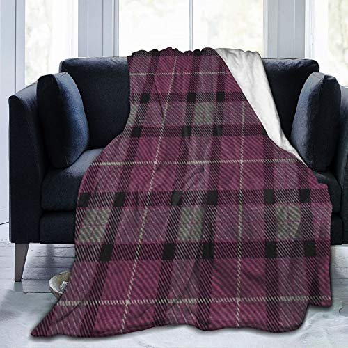 Daisylove Manta ultra suave de microforro polar, duradera, clásica de tartán en berenjena y cachemir, manta suave y cálida para cama, sofá, oficina, sala de estar, decoración del hogar, 152 x 122 cm