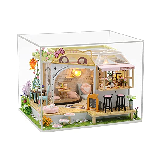 HAOXIU DIY Miniatur Haus,Hütte Freizeit Katze Kaffee Zurück Garten Handgemachtes Kleines Puppenhaus Mit Dustproof,Miniature with Furniture Creative Space, Happy Time