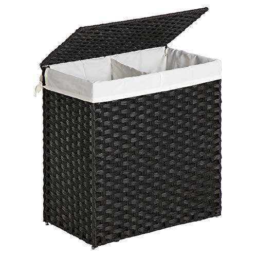 SONGMICS Wäschekorb handgeflochten, 110L Wäschesammler aus synthetischem Rattan, mit Deckel und Griffen, Wäschesortierer, faltbar, Wäschesack herausnehmbar, schwarz LCB52BK