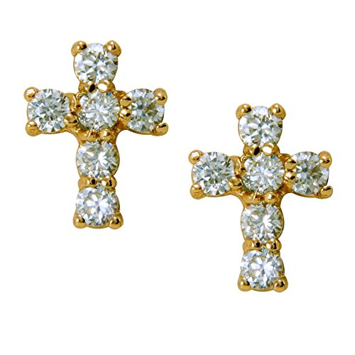 18ct Gold Filled Womens Girls Small White CZ Cross Stud Earrings 18K
