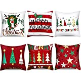 Boao 6 Pieces Christmas Pillow Cover Merry Christmas Throw Cushion Covers Tree Reindeer Star Pillow Case for Party Home Decoration, 18 x 18 Inch (Set 1)