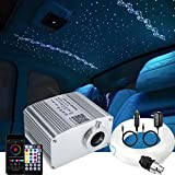 AZIMOM 10W Twinkle Bluetooth RGBW LED Fiber Optic Star Ceiling Light Kit 300pcs 0.75mm 9.8ft Sensory Music Mode APP Remote Control for Indoor Car Interior Decoration