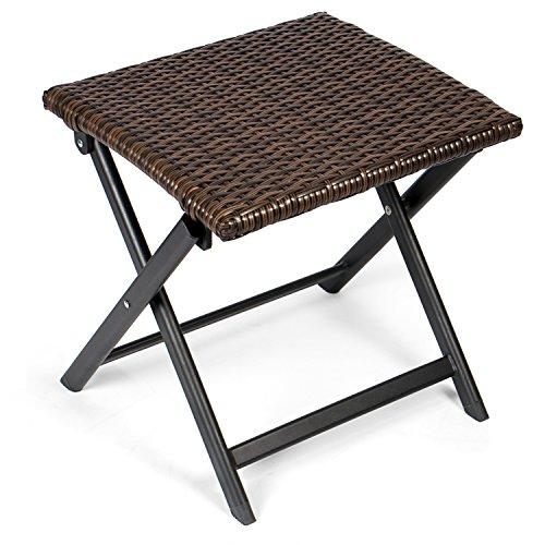 Vanage Alu Hocker mit Rattanoptik in braun - klappbarer Fußhocker - Klapphocker - Sitzhocker - Klappstuhl für Camping, Garten, Terrasse und Balkon geeignet
