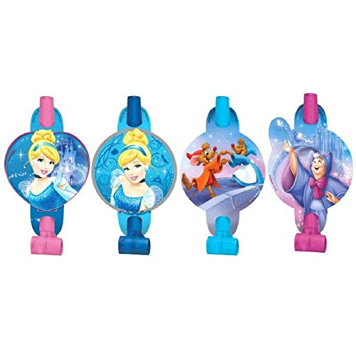 "Disney Cinderella Princess Birthday Party Blowouts Noisemaker Toy Favour (8 Pack), Multi Color, 5 1/4"" x 3 1/4""."
