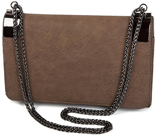 styleBREAKER Bolso de Mano Clutch, Bolso de Fiesta con pasadores de Metal y Cadena de eslabones, diseño Vintage, señora 02012046, Color:Marrón