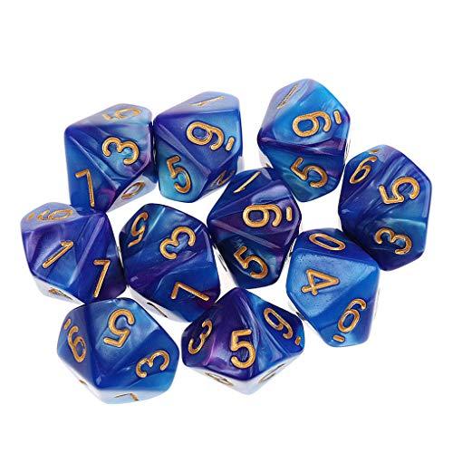 Yourandoll 10 STÜCKE Polyedrische Würfel D10 Würfel Dice Spielwürfel 10-seitig Würfel for DND RPG Brettspiel Kartenspiel (Blau Lila)