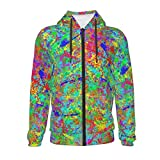 Paint Splatter Grunge Hoodies for Teen Long Sleeve Zip Up Sweatshirt with Kangaroo Pocket Black