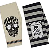 Design Imports Set of 2 Halloween Heebie Jeebies/Poison Skull Kitchen Towel Gift Set