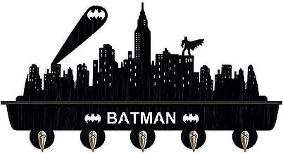 Batman Étagère murale en bois pour entrée, 40,6 cm, avec 5 crochets métalliques doubles pour couloir, salle de bain, salo...