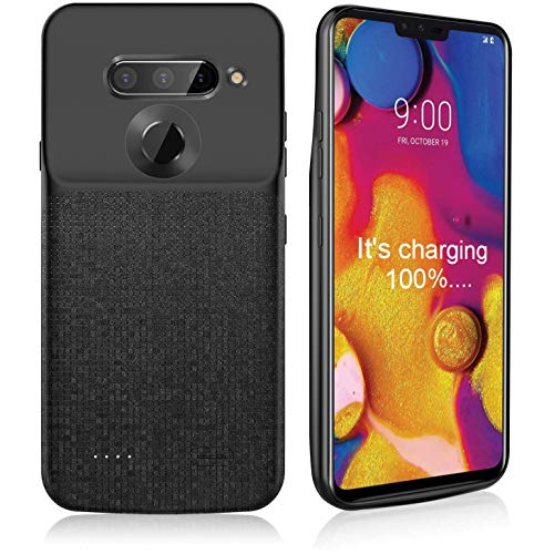 NEWDERY LG V40 ThinQ Battery Case, 5200mAh Slim Portable Power Charger Case with Raised Bezel Soft Edge Full Protection, Charging Case Only for LG V40 ThinQ - Black