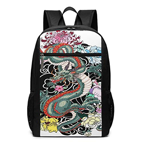 OMNVEQ Mochila Escolares Dragon Tattoo Arm Peony, Mochila Tipo Casual para Niñas Niños Hombre Mujer Mochila para Ordenador Portátil Viaje