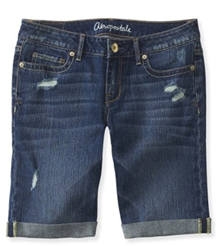 Aeropostale Women's Bermuda Jean Shorts Dark Destructed 0551 0