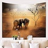Wandteppich Wandbehang Mandala Tuch Wandtuch Naturlandschaft des Elefanten 3D Gobelin Tapestry Hippie Boho Stil als Dekotuch Tagesdecke indisch Psychedelic,200x150cm/80x60 inch