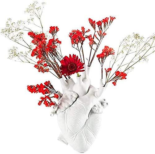Florero anatómico con forma de corazón, maceta de resina de 9.75 pulgadas, adorno de escritorio para el hogar, decoración moderna de granja, color blanco