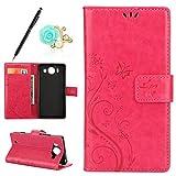 Uposao Kompatibel mit Microsoft Lumia 950 Brieftasche Hülle Leder Tasche Handyhülle Schutzhülle Wallet Hülle Flip Hülle Handy Tasche Lederhülle Schmetterling Blumen Klapphülle,Hot Pink