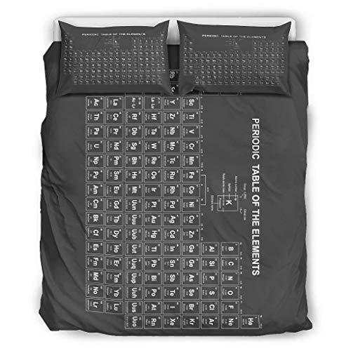 Haythan Juego de cama de 3 piezas, diseño de sistema periódico, suave – 3 piezas, para cama doble blanca, 168 x 229 cm