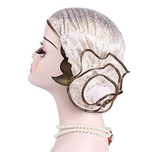 Mamum Turban Chimio Femme Bonnet Décoré Épingle Musulmanes Perle Wrap Hijib Cap Chemo Beanie Fleur (Blanc)