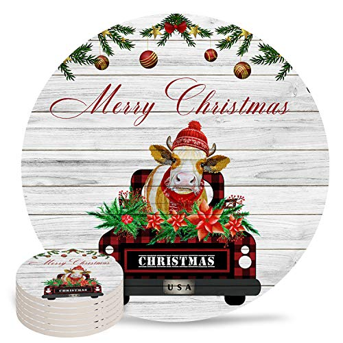 6-Piece Set Ceramic Coasters for Drinks,Farm Truck with Cow Christmas Lights Rustic Wood Grain Unique Absorbent Round Ceramics Cork Backed Cup Mat for Home/Housewarming Gift