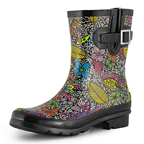 SheSole Waterproof Short Garden Rubber Rain Boots for Women Galoshes Floral Printed Black US Size 6